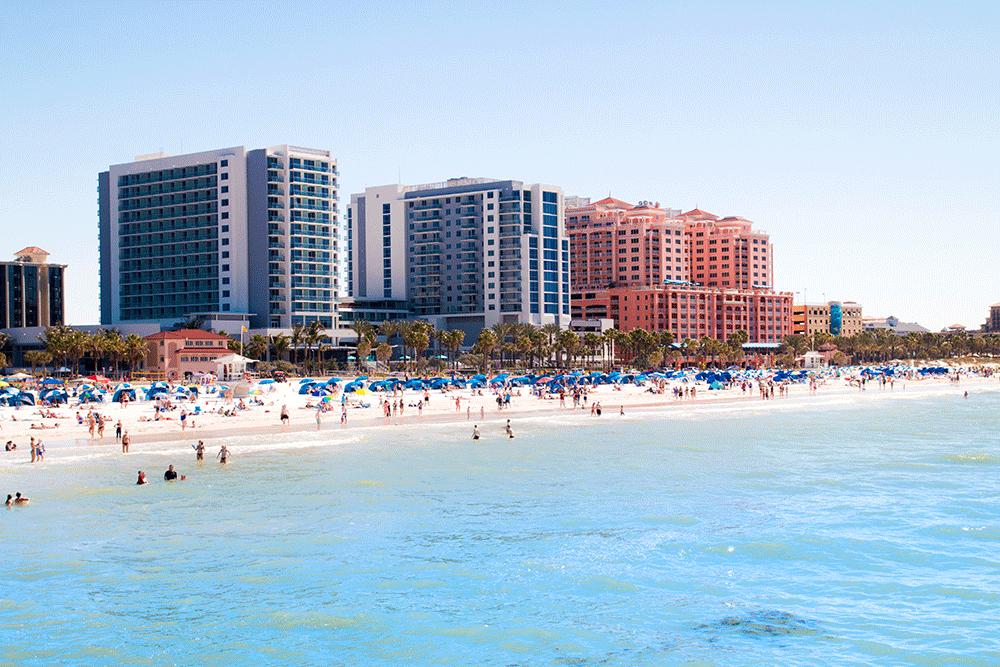 Arial view of Clearwater Beach FL